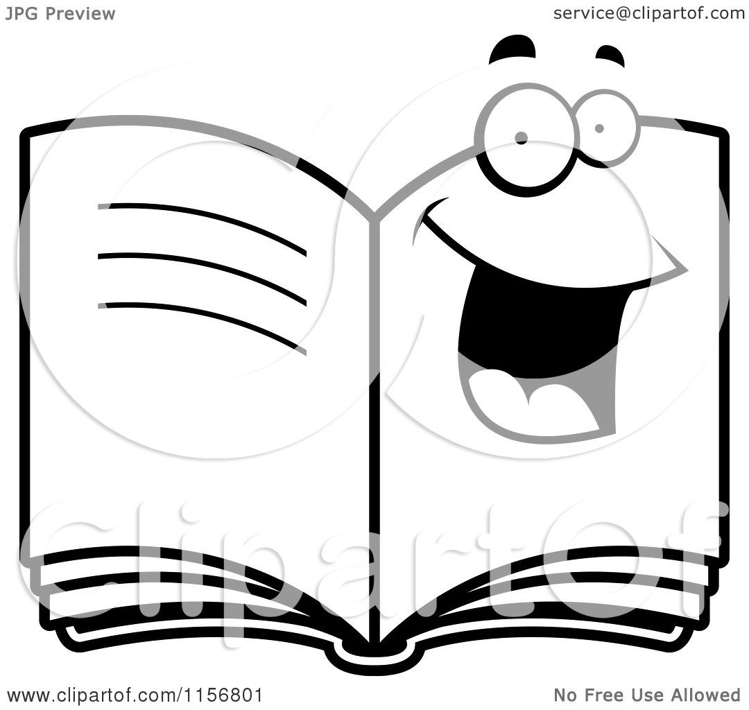 Cartoon Clipart Of A Black And White Happy Smiling Book