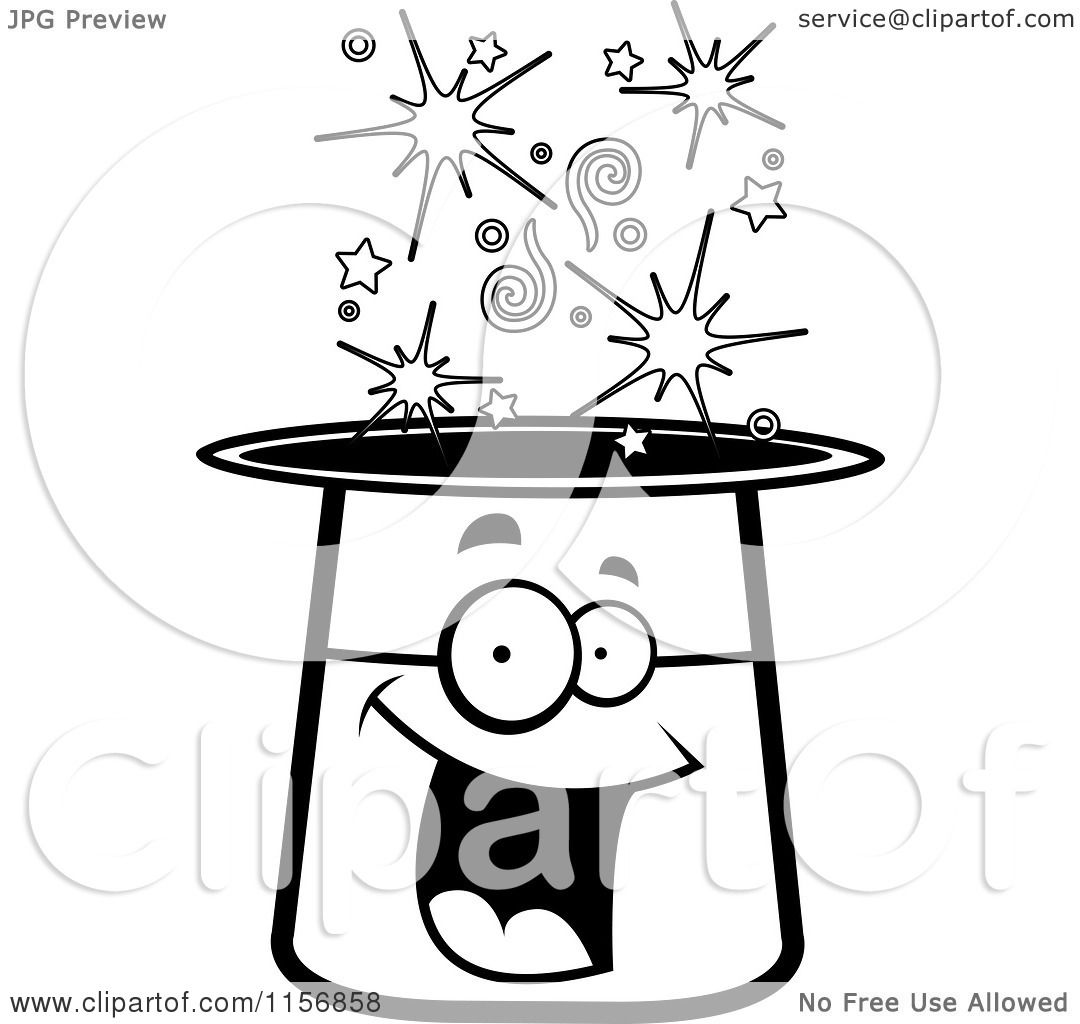 Cartoon Clipart Of A Black And White Happy Smiling Magic