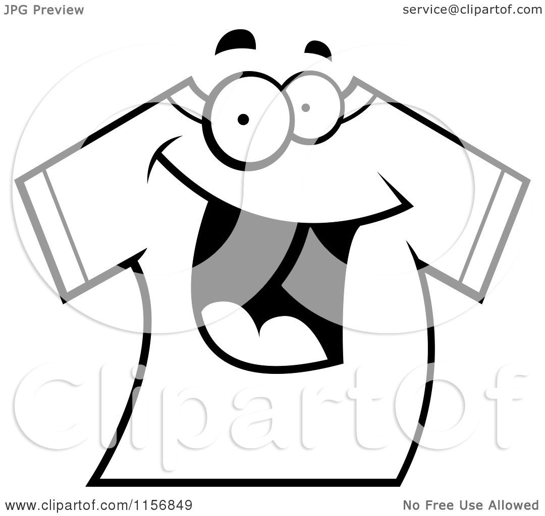 Cartoon Clipart Of A Black And White Happy Smiling T Shirt