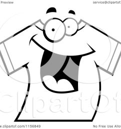 cartoon clipart of a black and white happy smiling t shirt vector outlined coloring page [ 1080 x 1024 Pixel ]