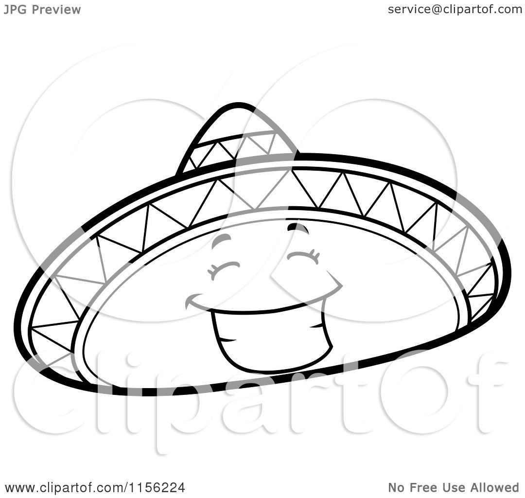 Cartoon Clipart Of A Black And White Happy Sombrero Hat