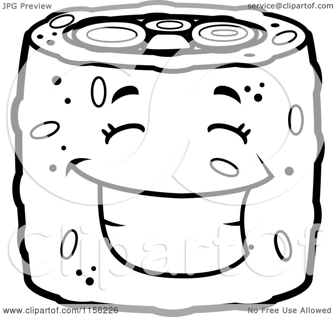 Cartoon Clipart Of A Black And White Happy Sushi Character