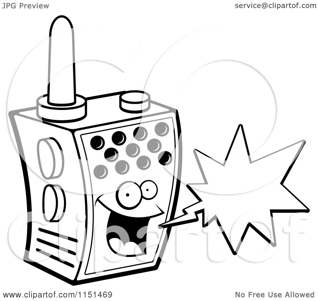 Cartoon Clipart Of A Black And White Happy Walky Talky