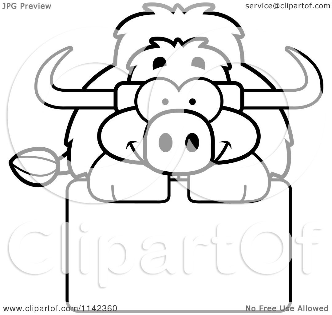 Cartoon Clipart Of A Black And White Happy Yak Over A Sign