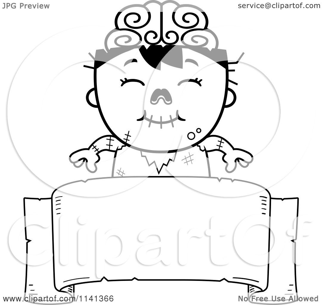 Cartoon Clipart Of A Black And White Happy Zombie Boy Over A Banner Sign