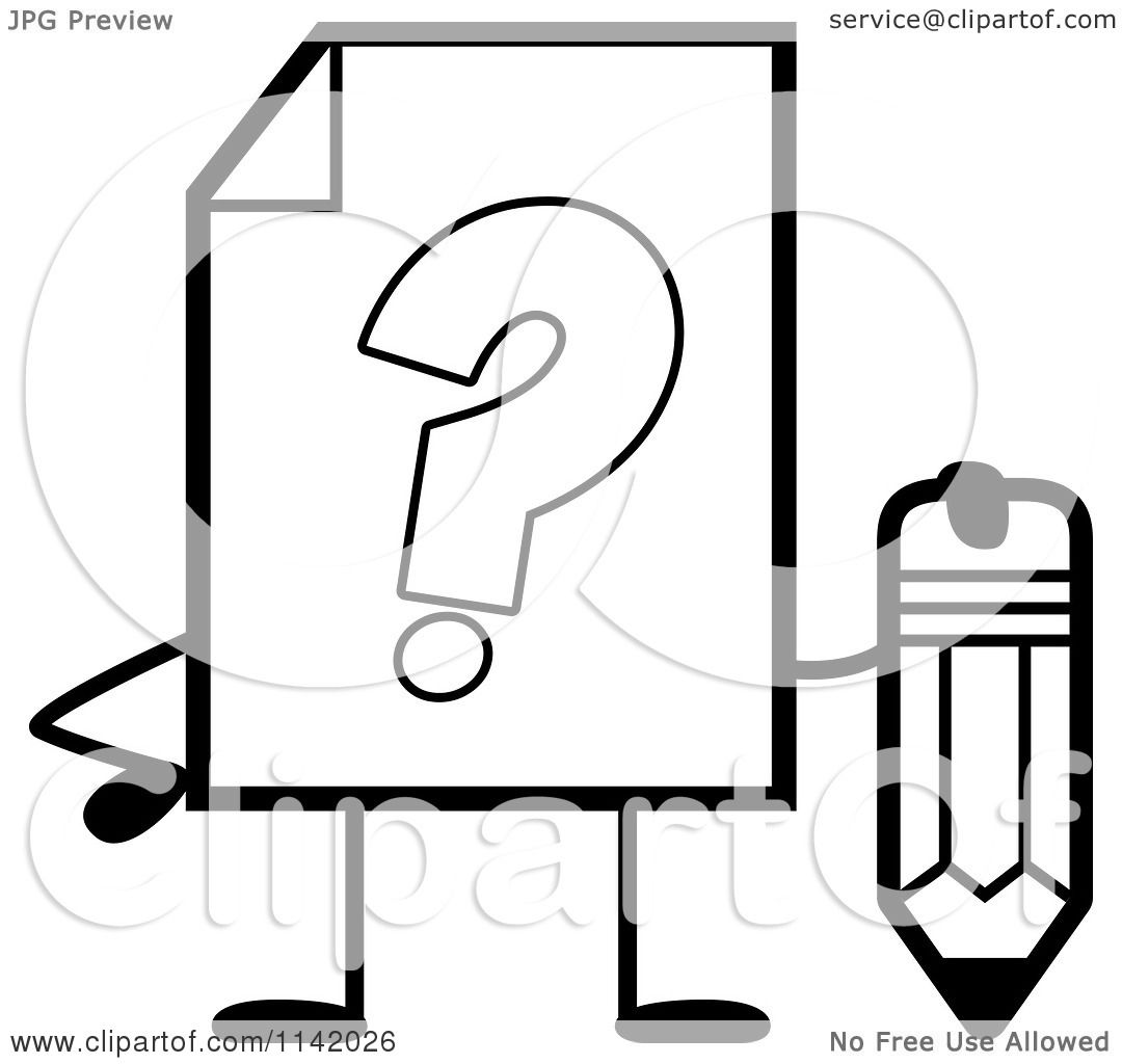 Cartoon Clipart Of A Black And White Help Document Mascot