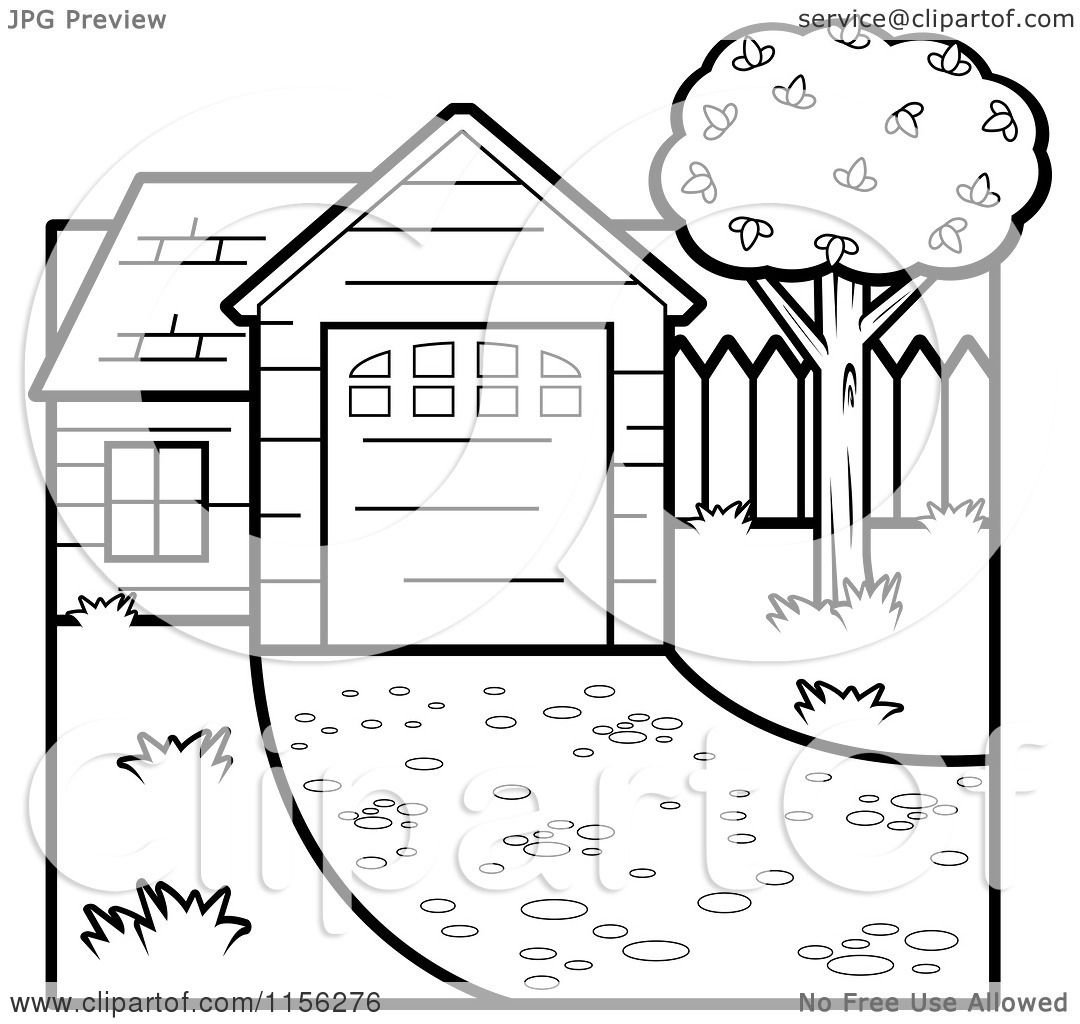 Cartoon Clipart Of A Black And White House