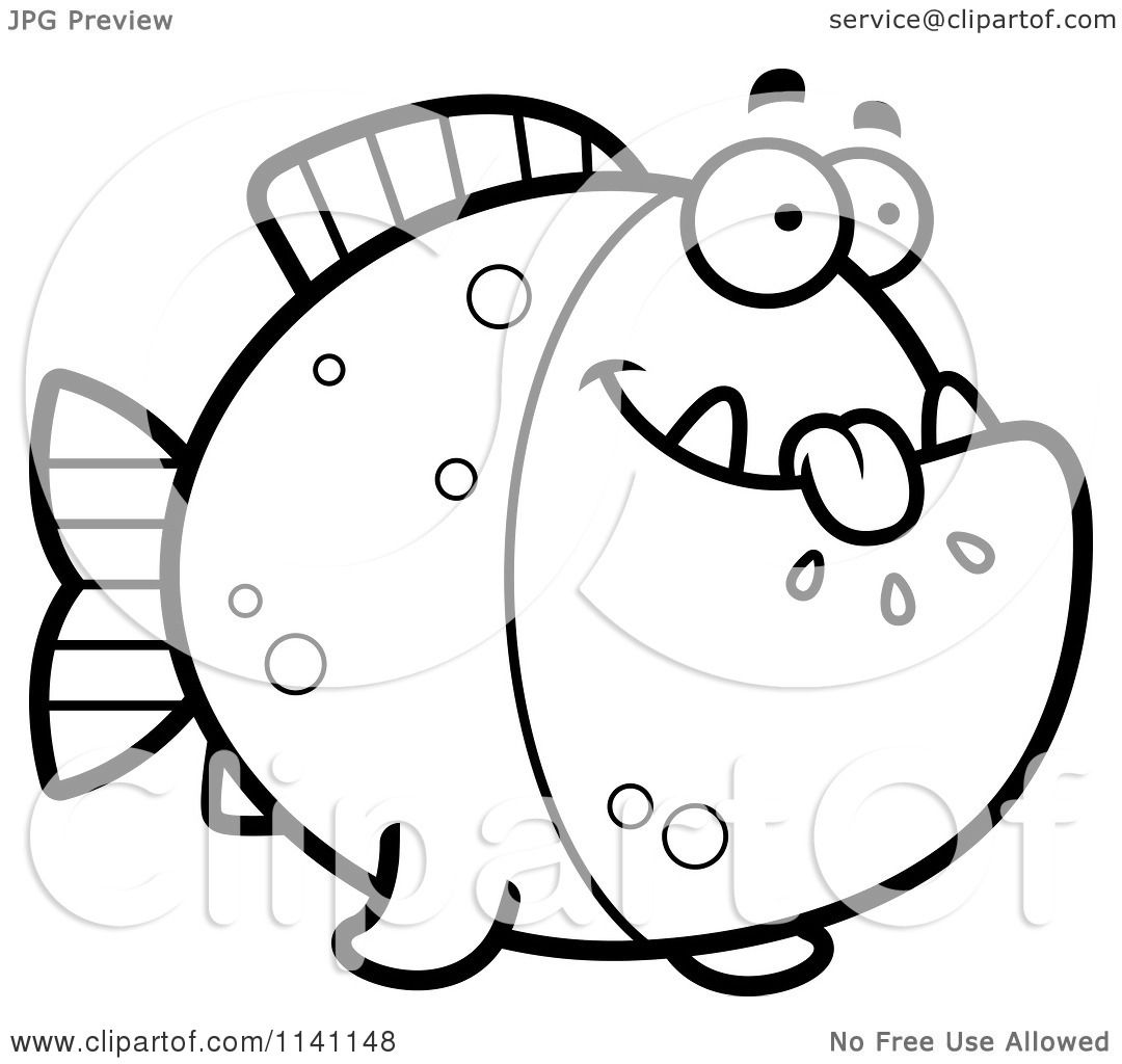 Cartoon Clipart Of A Black And White Hungry Piranha Fish