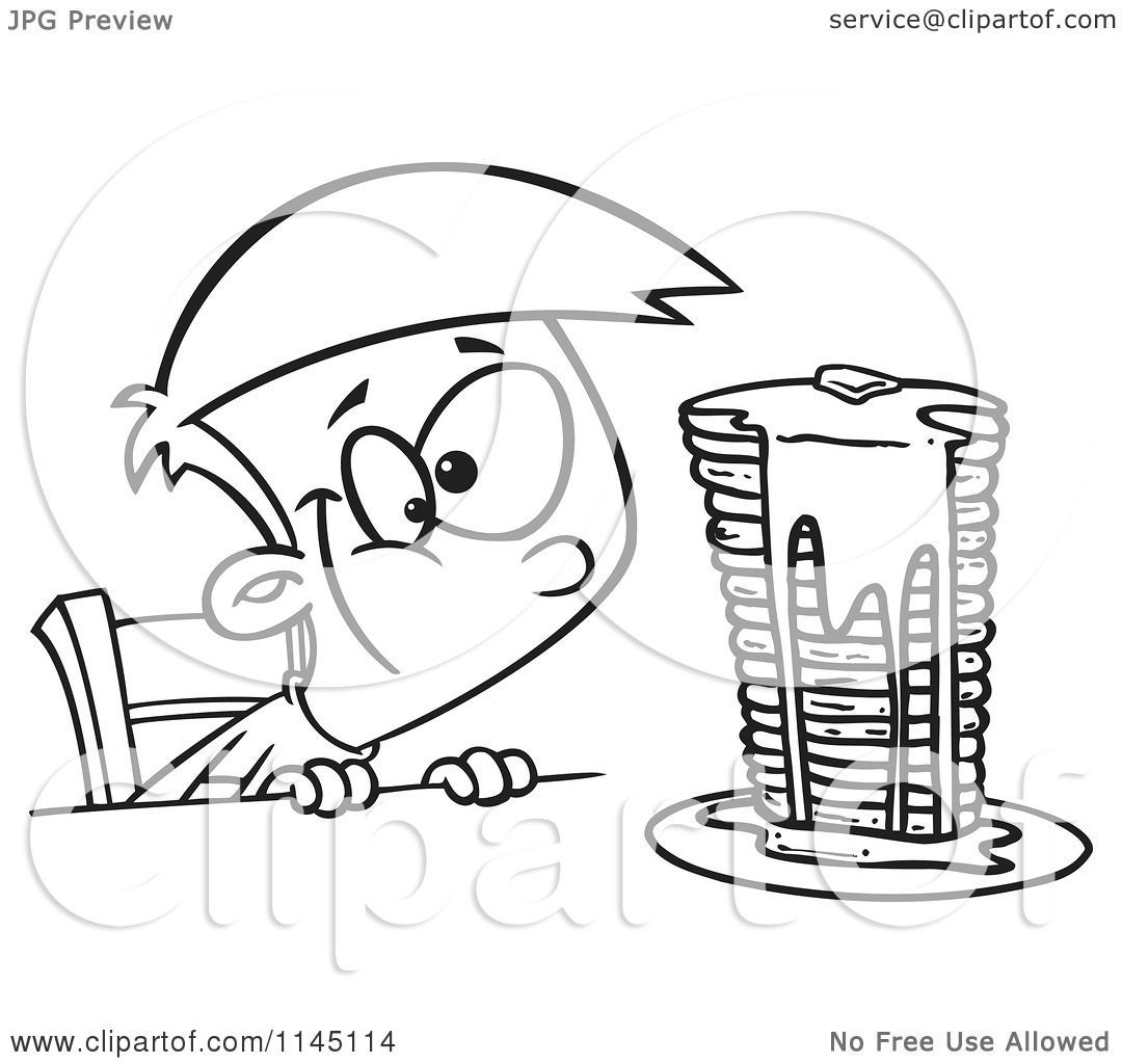 Cartoon Clipart Of A Black And White Hungy Boy Gazing At A