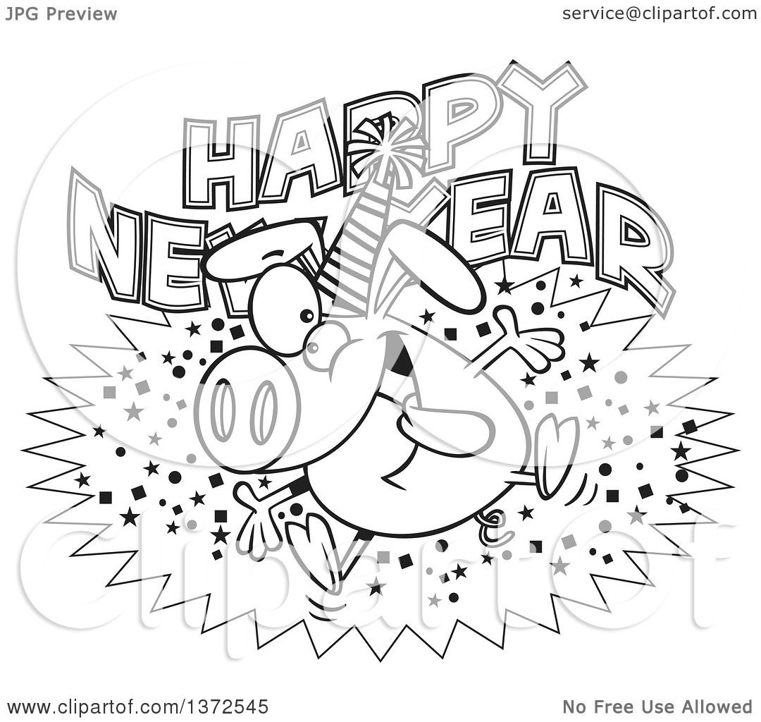Cartoon Clipart Of A Black And White Hyper Pig Wearing A