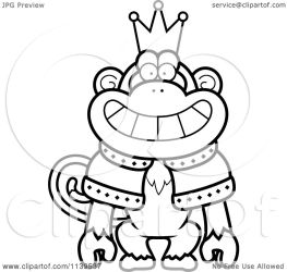 crown king monkey wearing cartoon robe clipart coloring vector cory thoman outlined