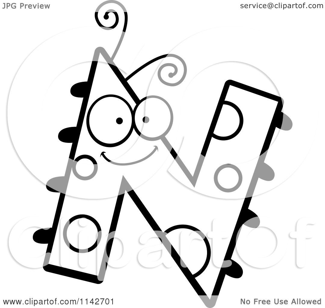 Cartoon Clipart Of A Black And White Letter N Bug