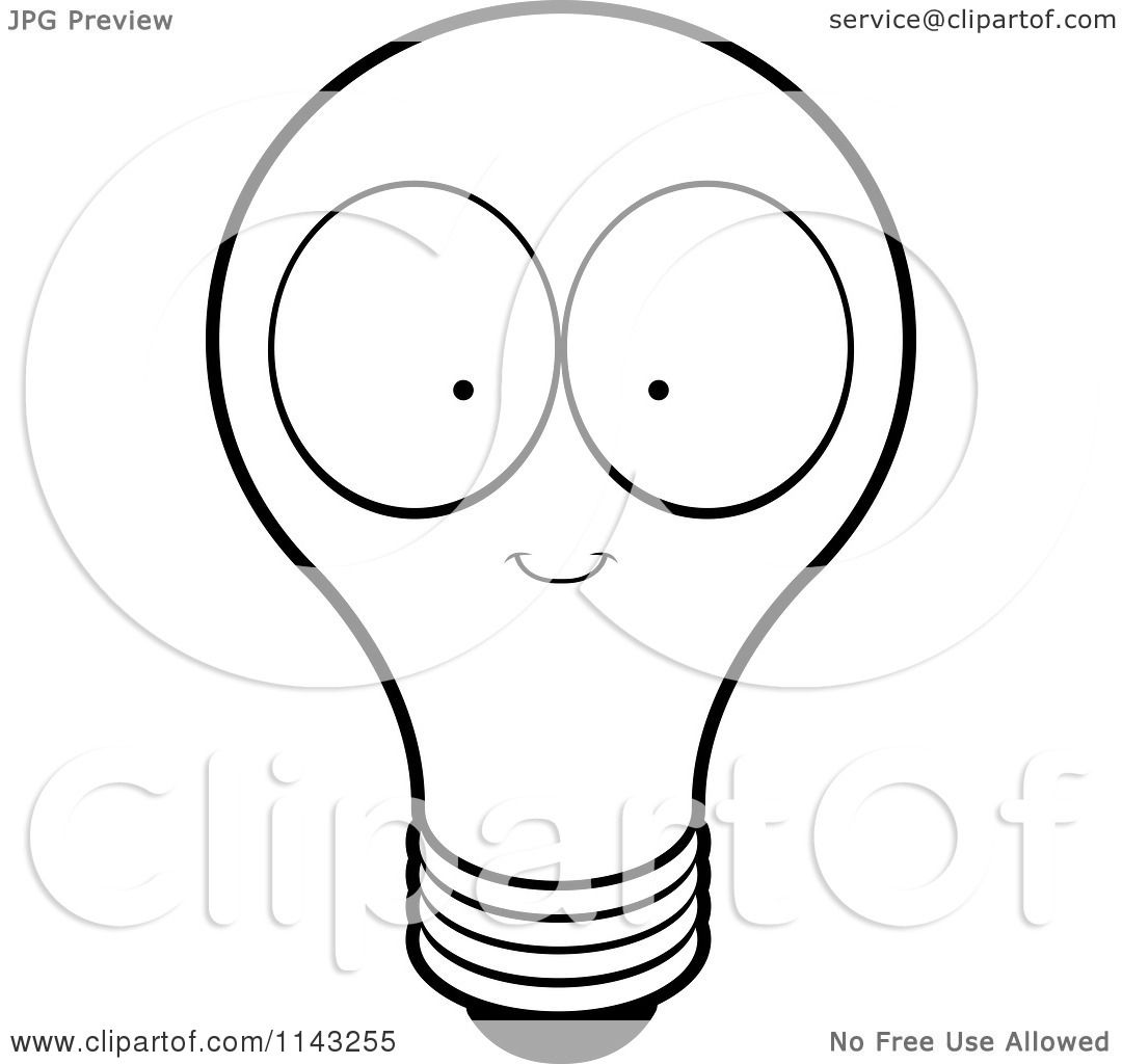 Cartoon Clipart Of A Black And White Lightbulb Character