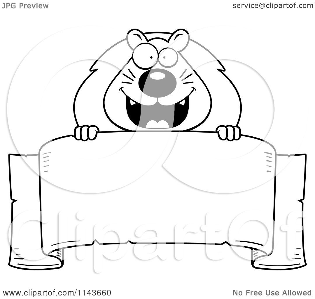 Cartoon Clipart Of A Black And White Lion Over A Banner