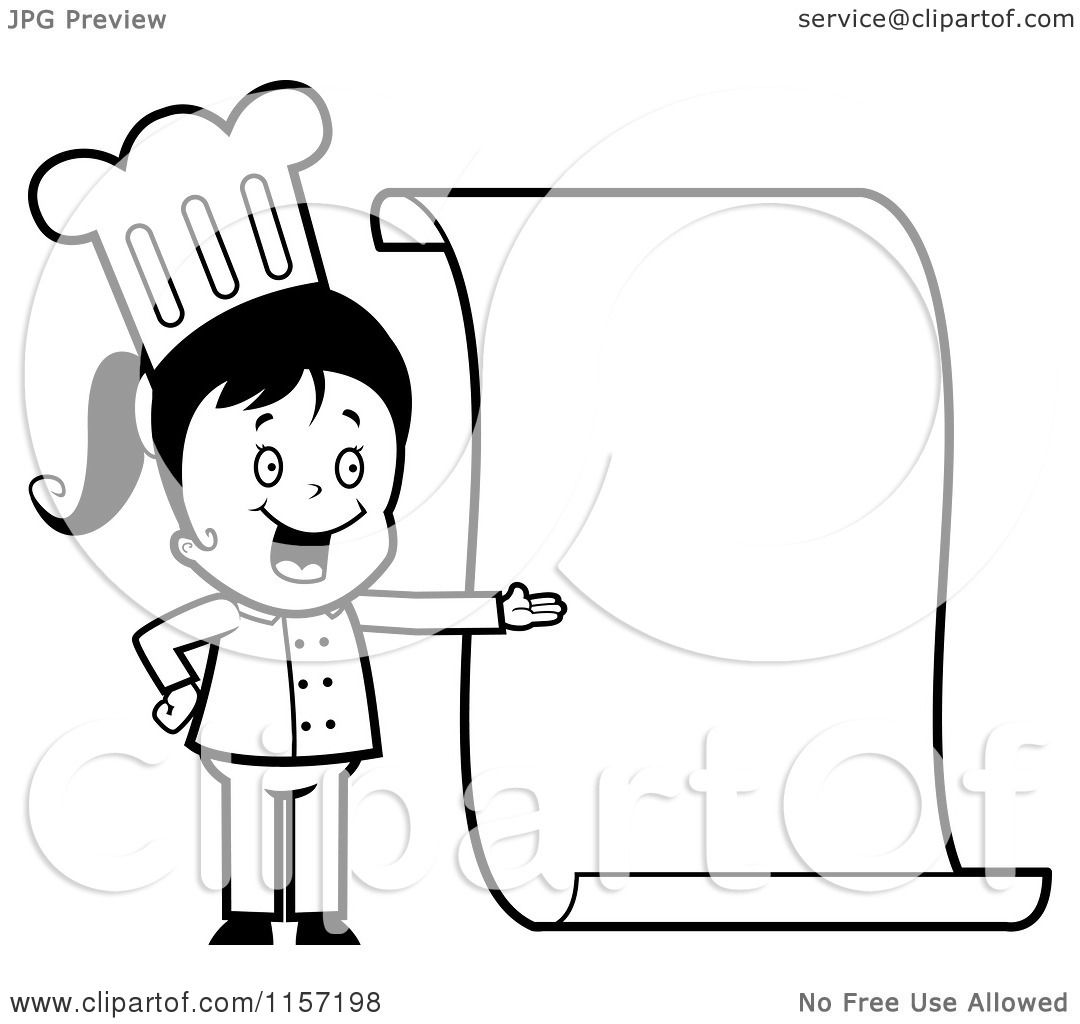 Cartoon Clipart Of A Black And White Little Chef Girl Presenting A Blank Menu