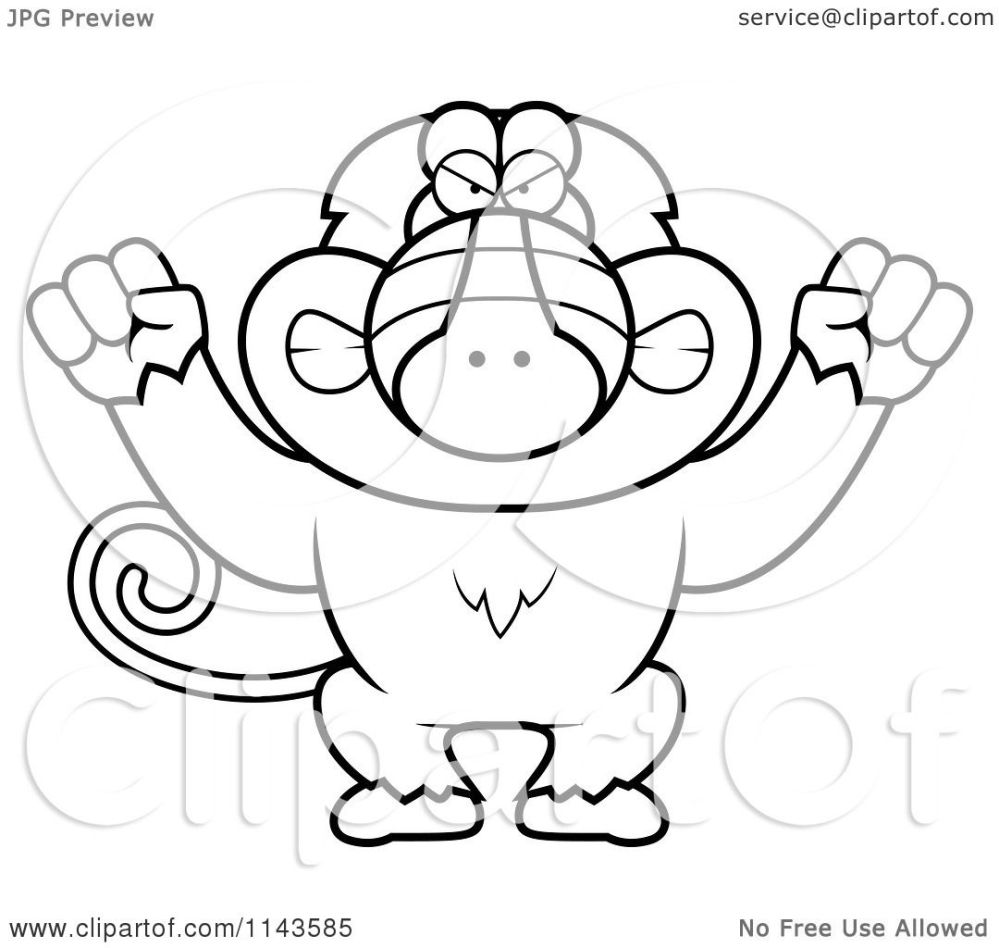 medium resolution of cartoon clipart of a black and white mad baboon monkey vector outlined coloring page by cory thoman