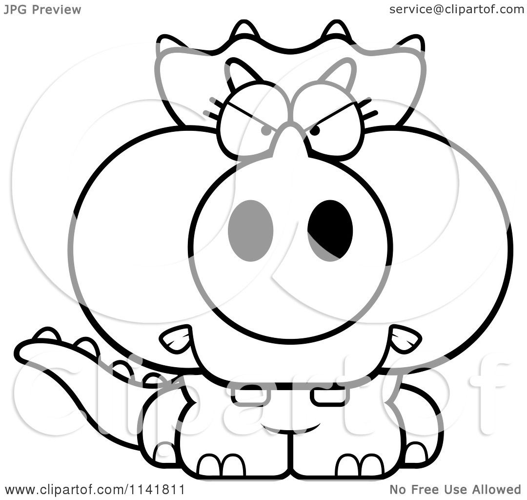 Cartoon Clipart Of A Black And White Mad Baby Triceratops