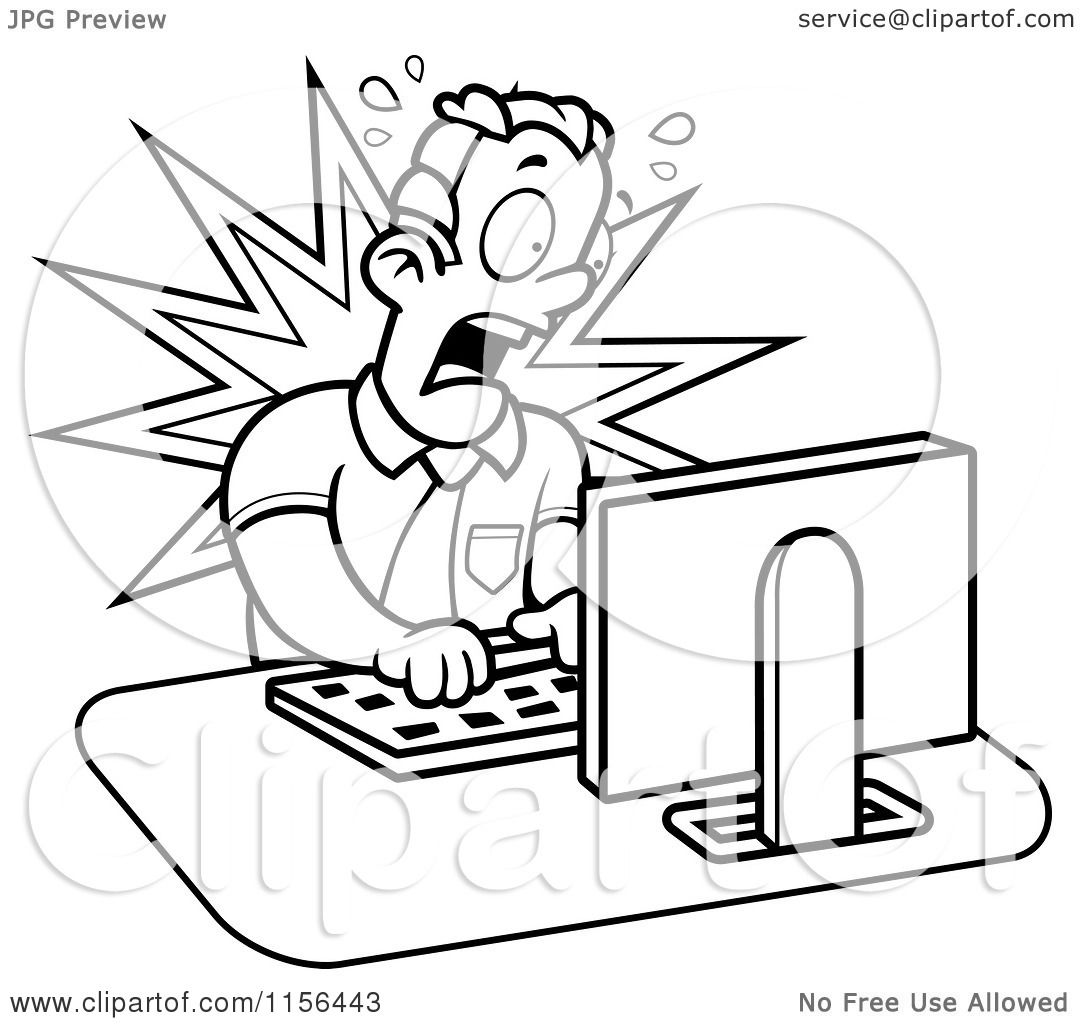 Cartoon Clipart Of A Black And White Mad Businessman