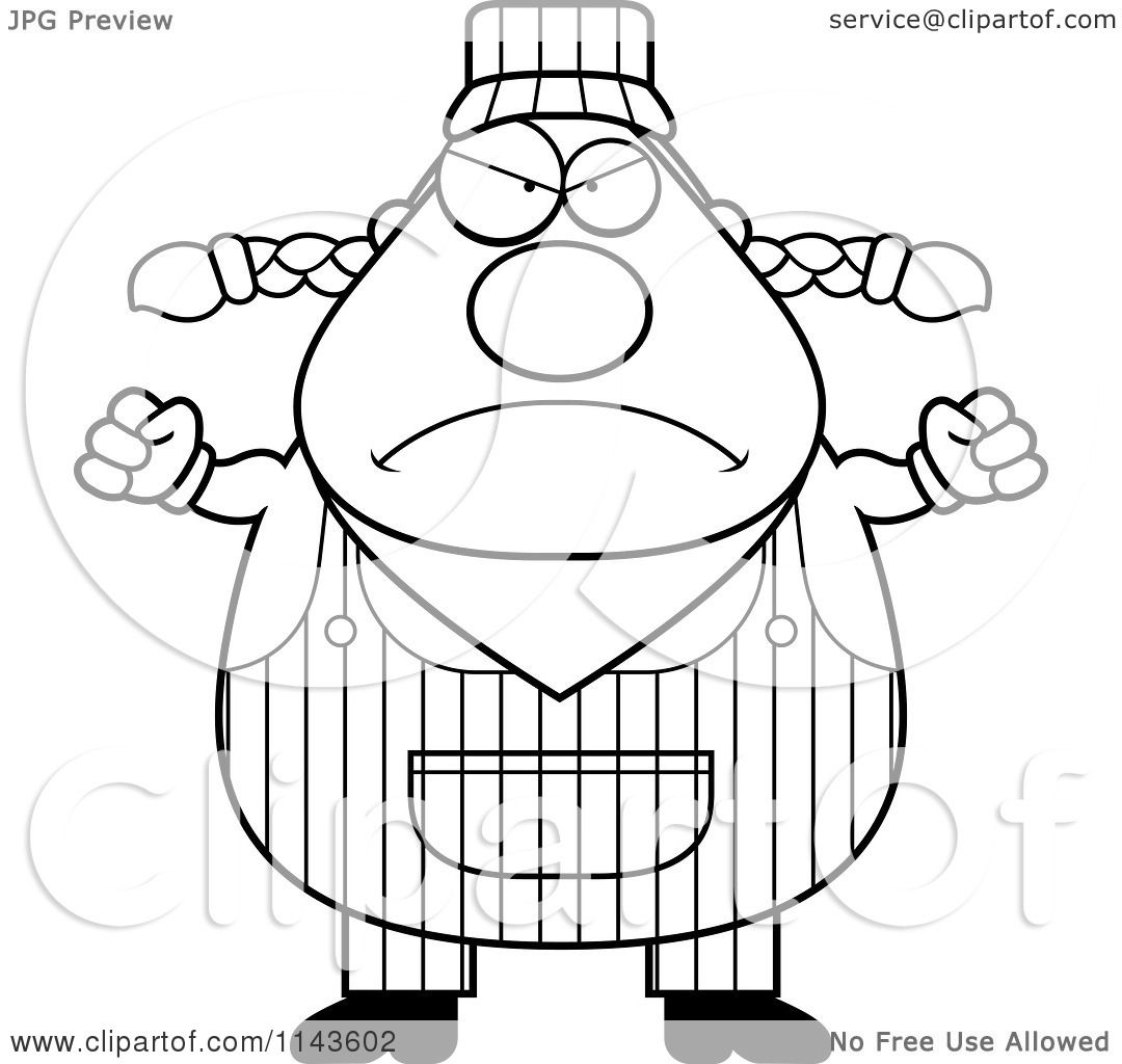 Cartoon Clipart Of A Black And White Mad Female Train
