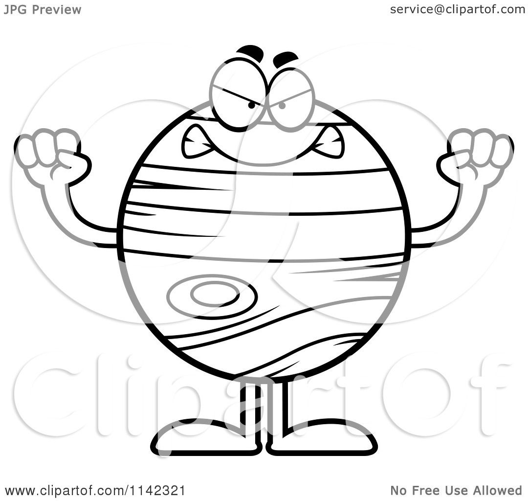 Cartoon Clipart Of A Black And White Mad Planet Jupiter