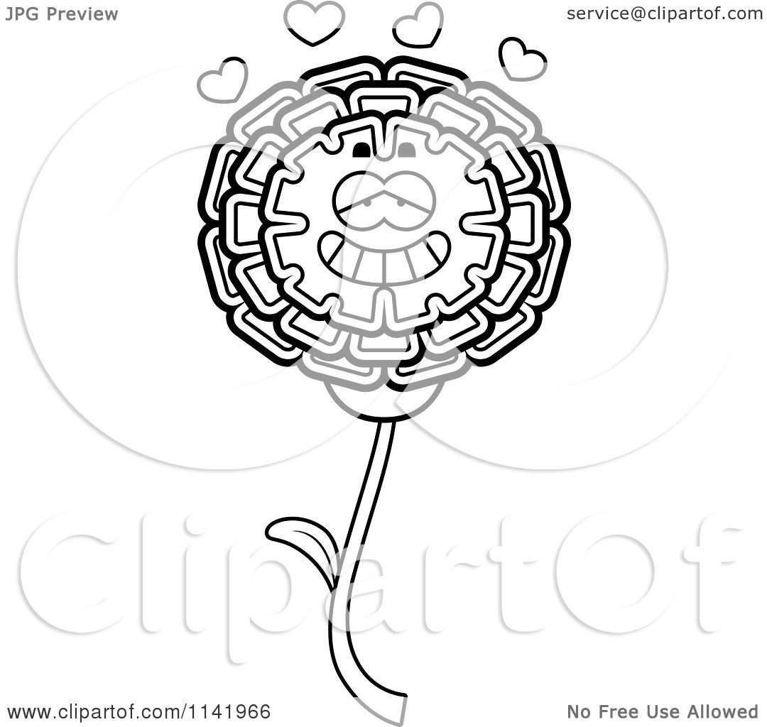 Cartoon Clipart Of A Black And White Marigold Flower