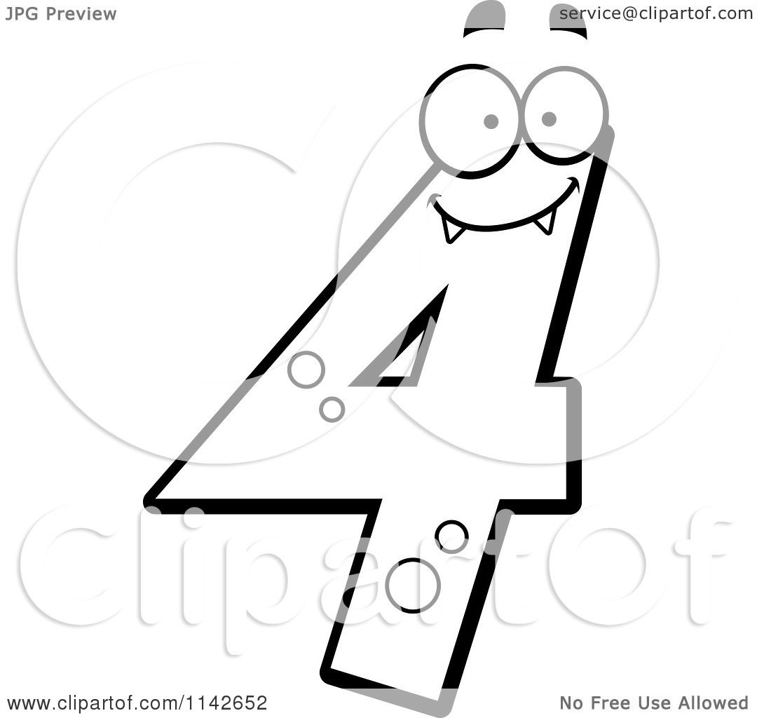 Cartoon Clipart Of A Black And White Number Four Character