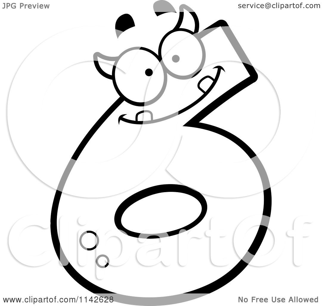 Cartoon Clipart Of A Black And White Number Six Devil