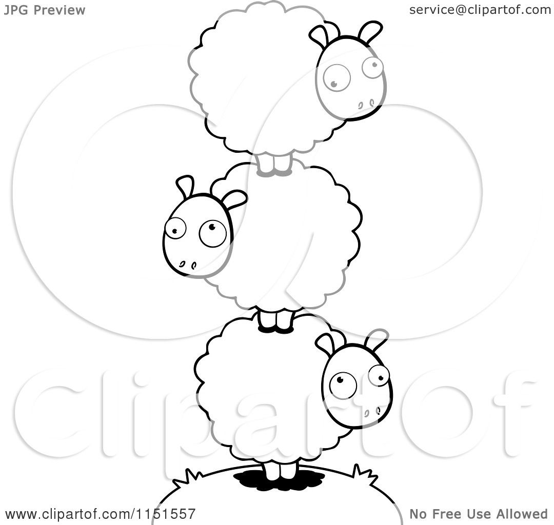 Cartoon Clipart Of A Black And White Pile of Balanced