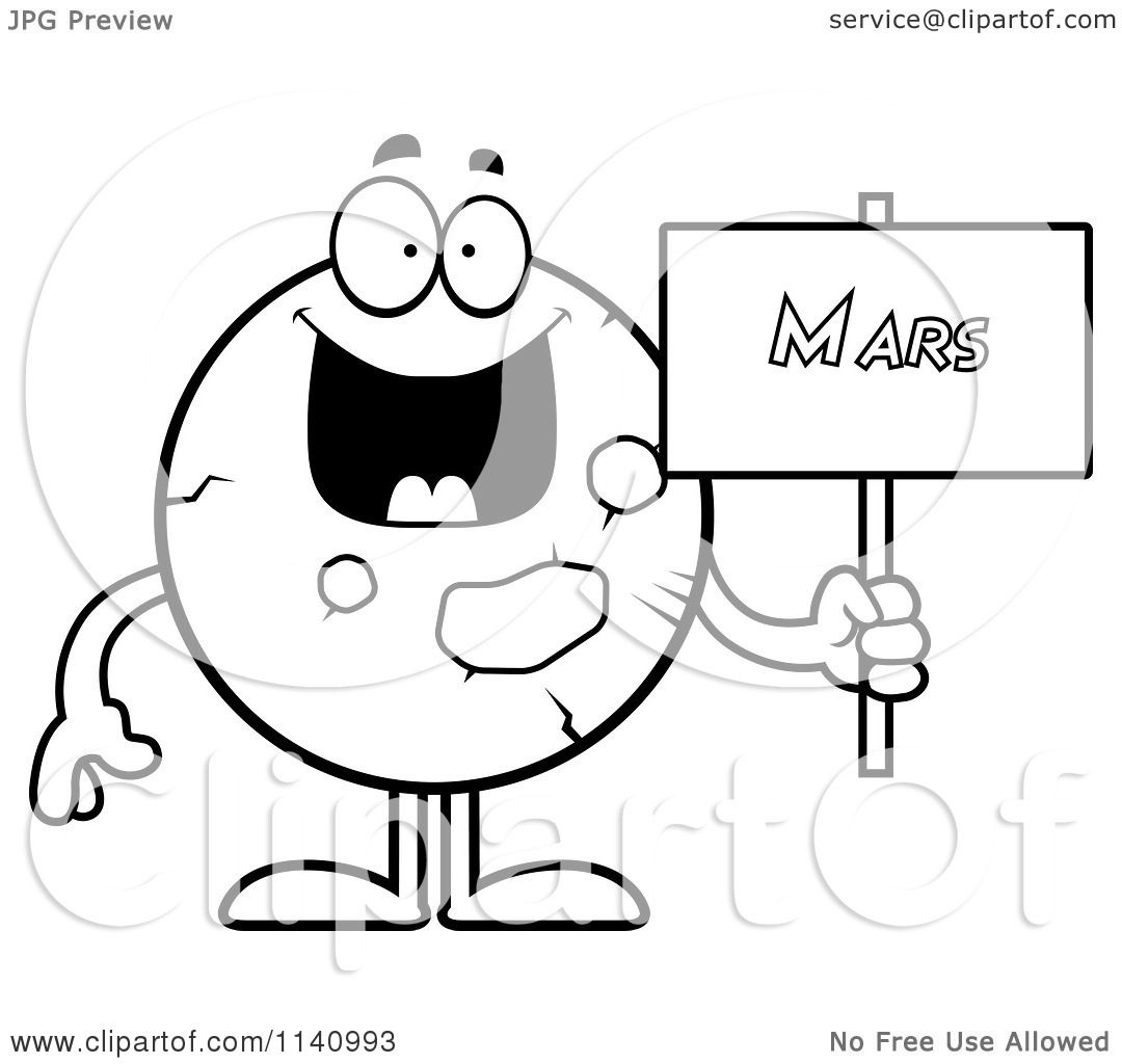 Cartoon Clipart Of A Black And White Planet Mars Holding A