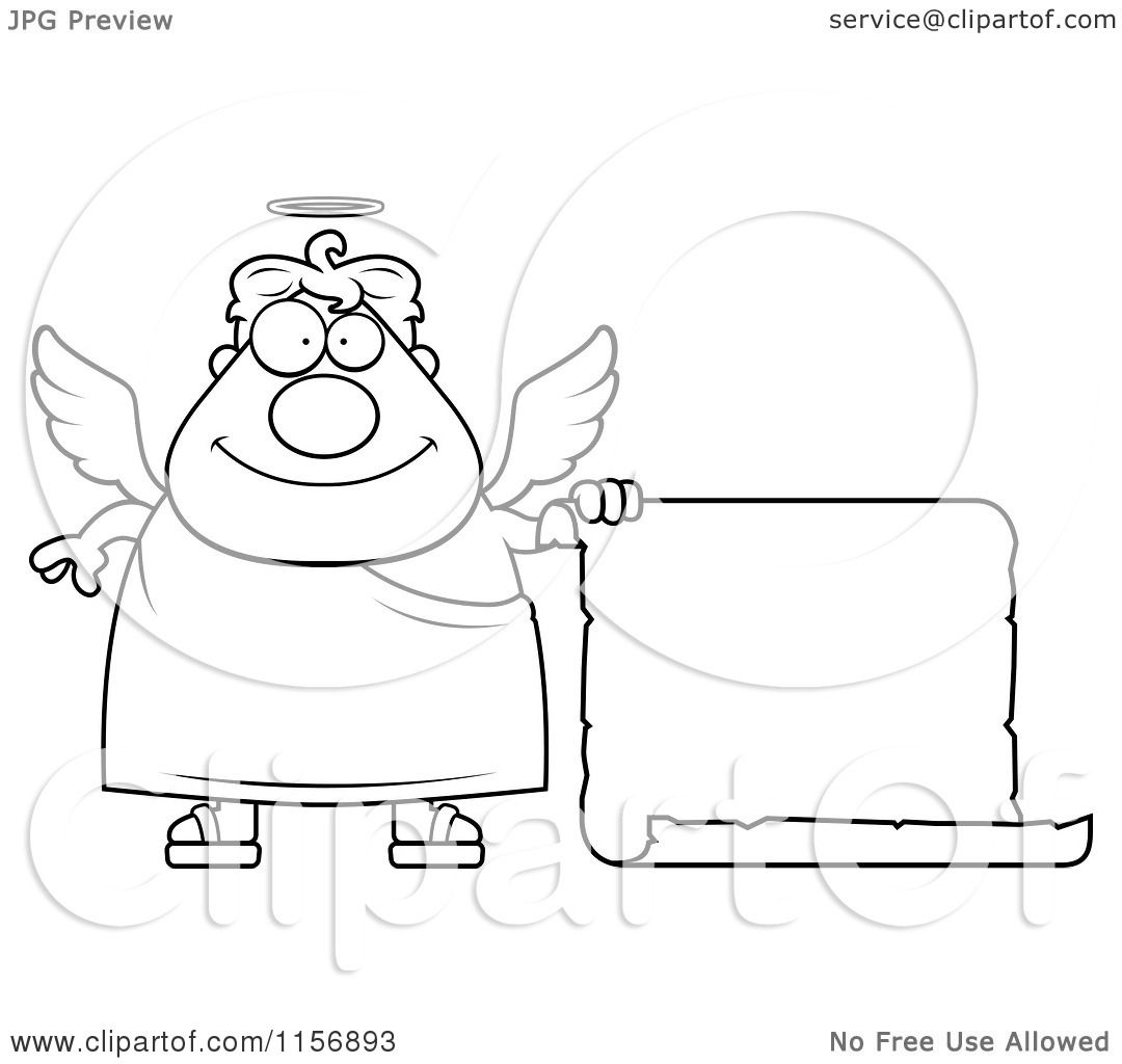 Cartoon Clipart Of A Black And White Plump Male Angel with
