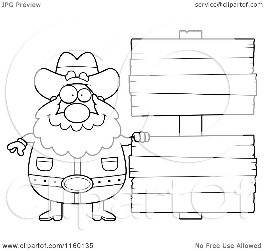 Cartoon Clipart Of A Black And White Plump Prospector by