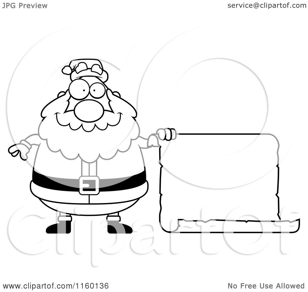 Cartoon Clipart Of A Black And White Plump Santa Holding