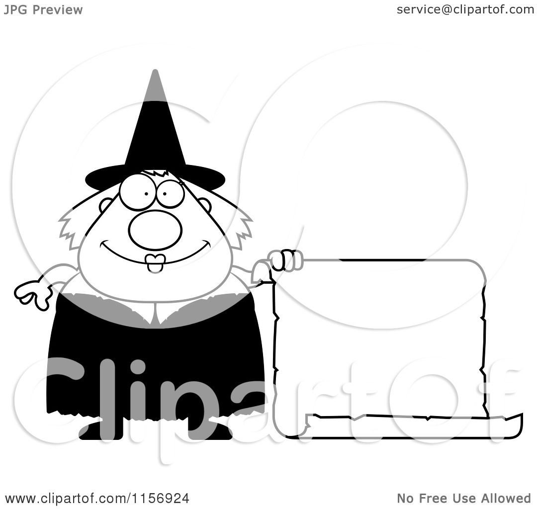 Cartoon Clipart Of A Black And White Plump Witch with a