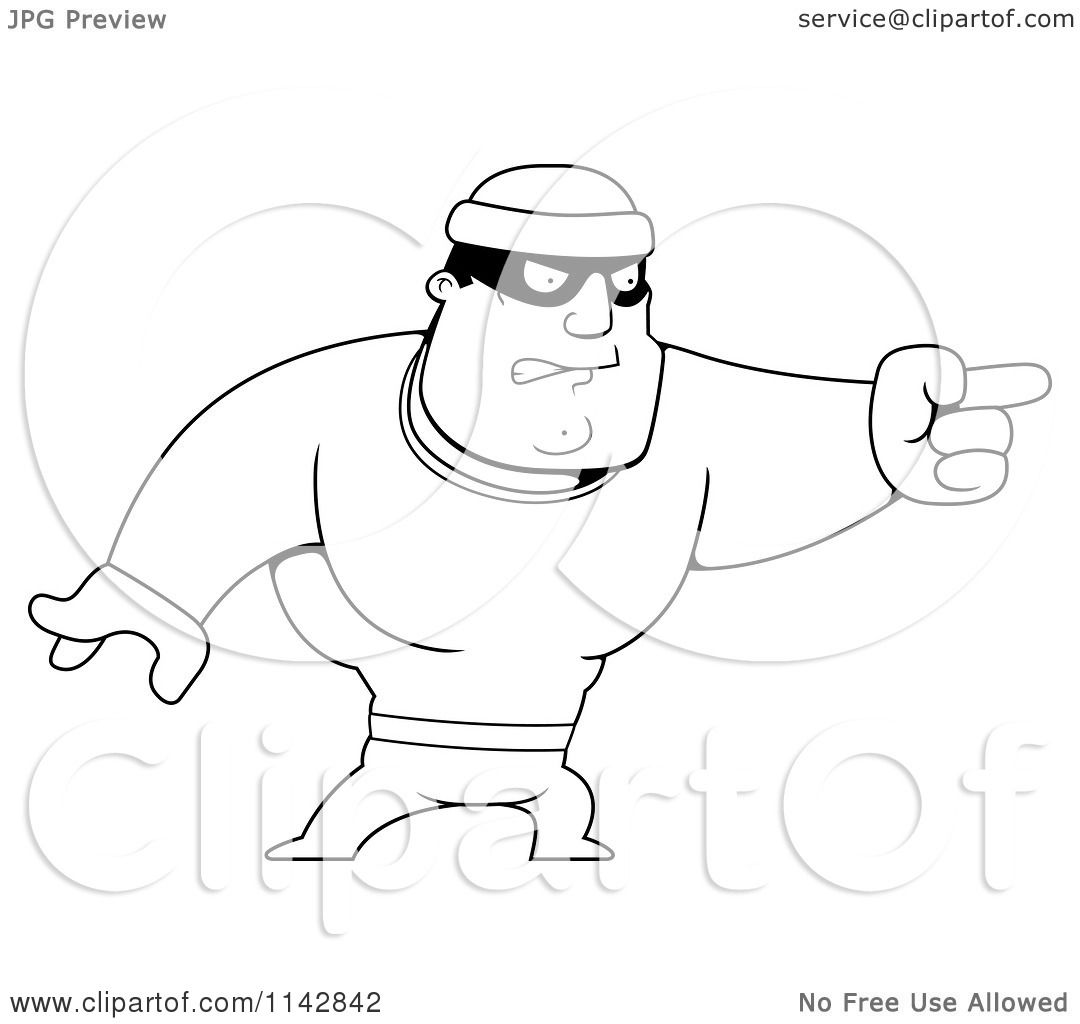 Cartoon Clipart Of A Black And White Pointing Male Robber