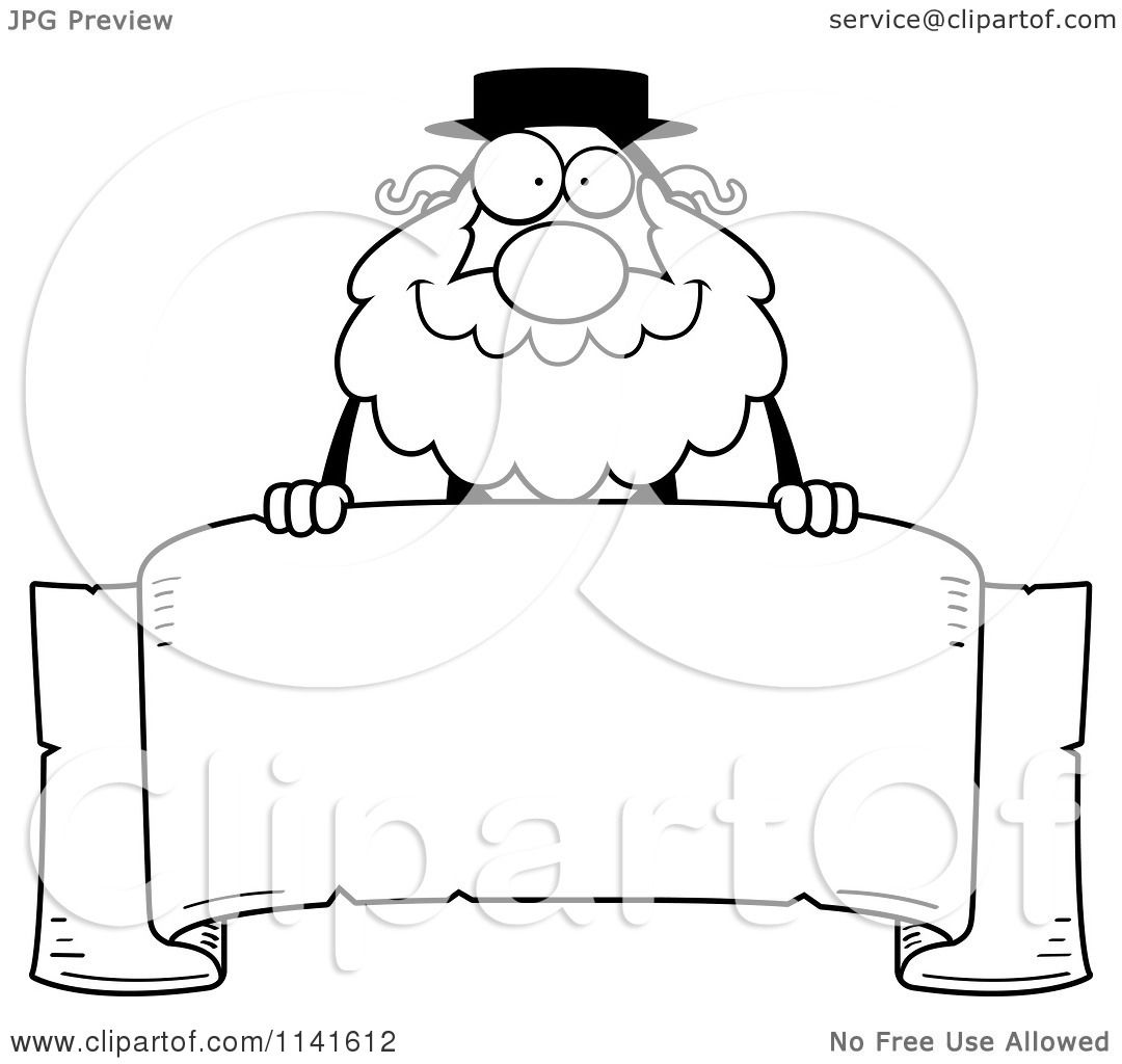 Cartoon Clipart Of A Black And White Rabbi Over A Banner