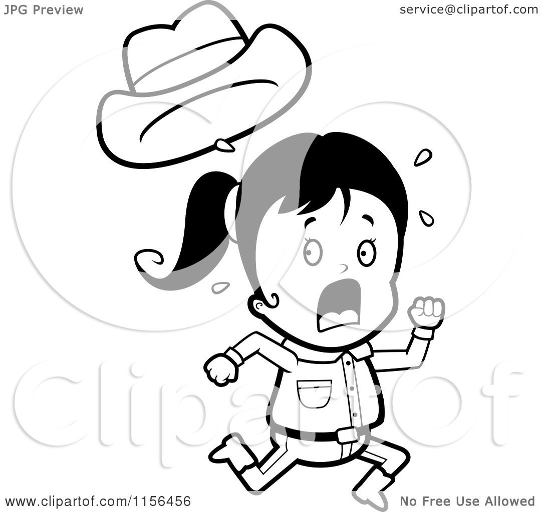 Cartoon Clipart Of A Black And White Running Little