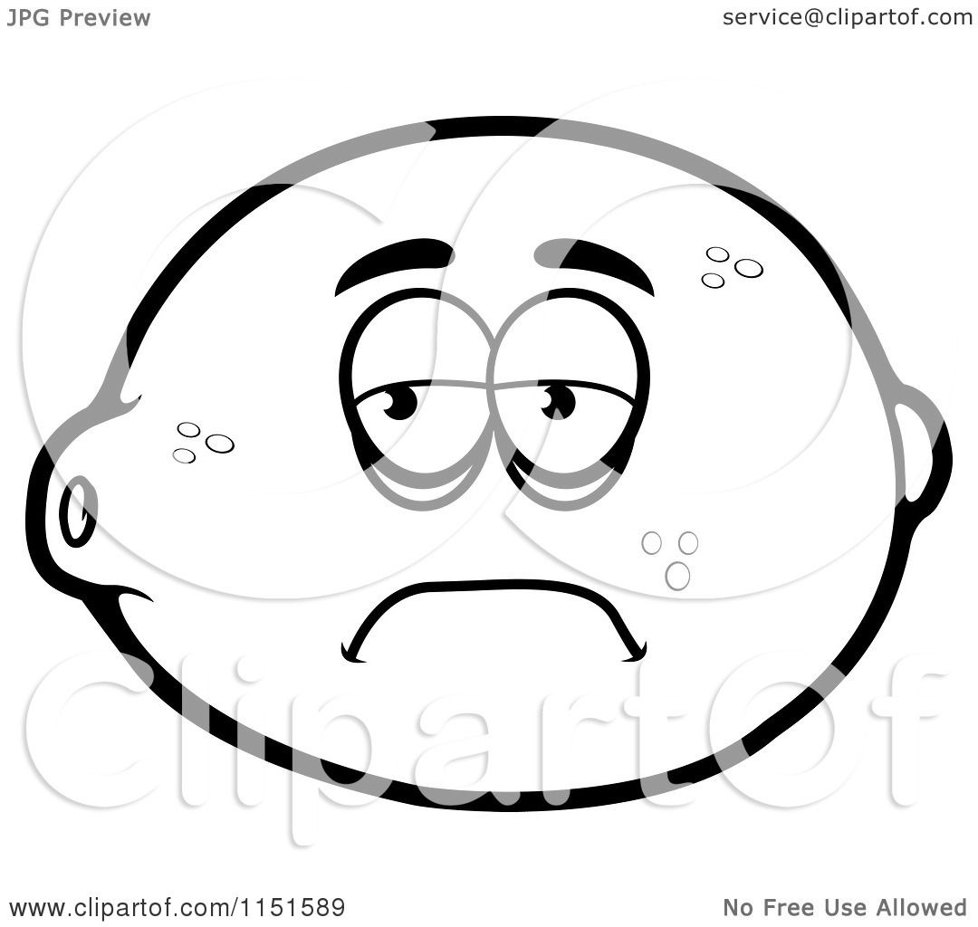 Cartoon Clipart Of A Black And White Sad Lemon Mascot