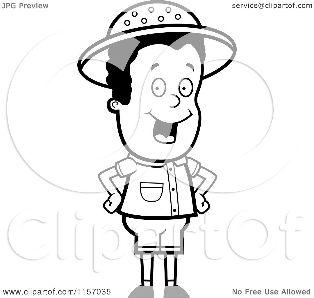 Cartoon Clipart Of A Black And White Safari Boy Standing
