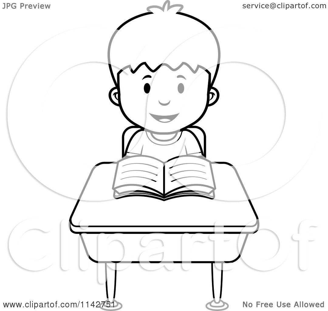 Cartoon Clipart Of A Black And White School Boy Reading At