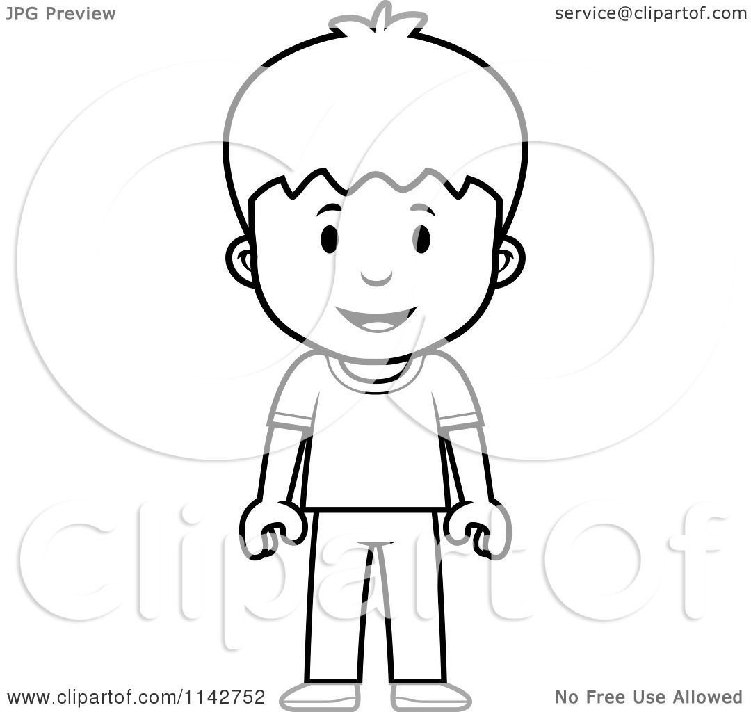 Cartoon Clipart Of A Black And White School Boy Standing