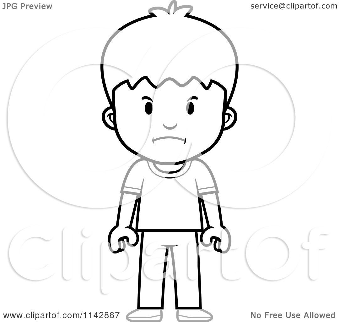 Cartoon Clipart Of A Black And White School Boy With A Mad Expression