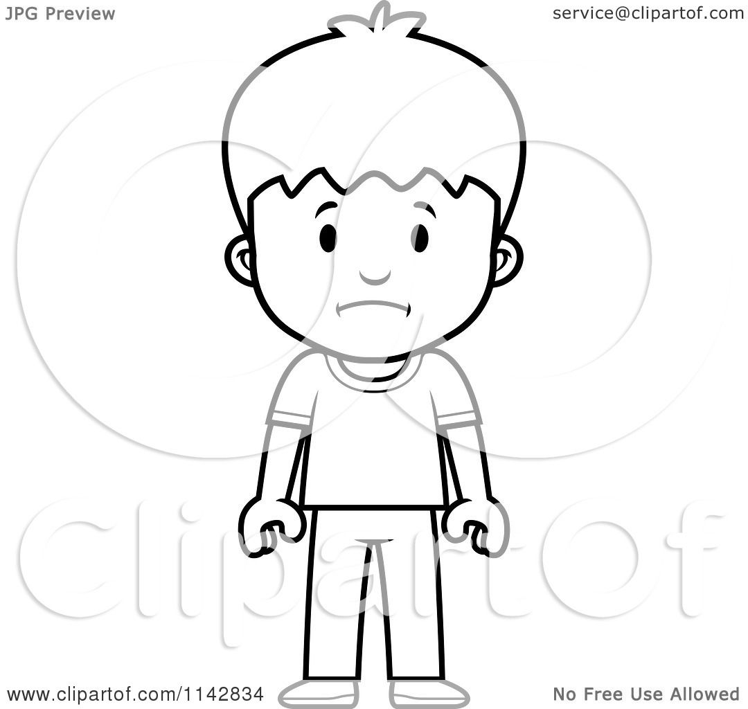 Cartoon Clipart Of A Black And White School Boy With A Sad