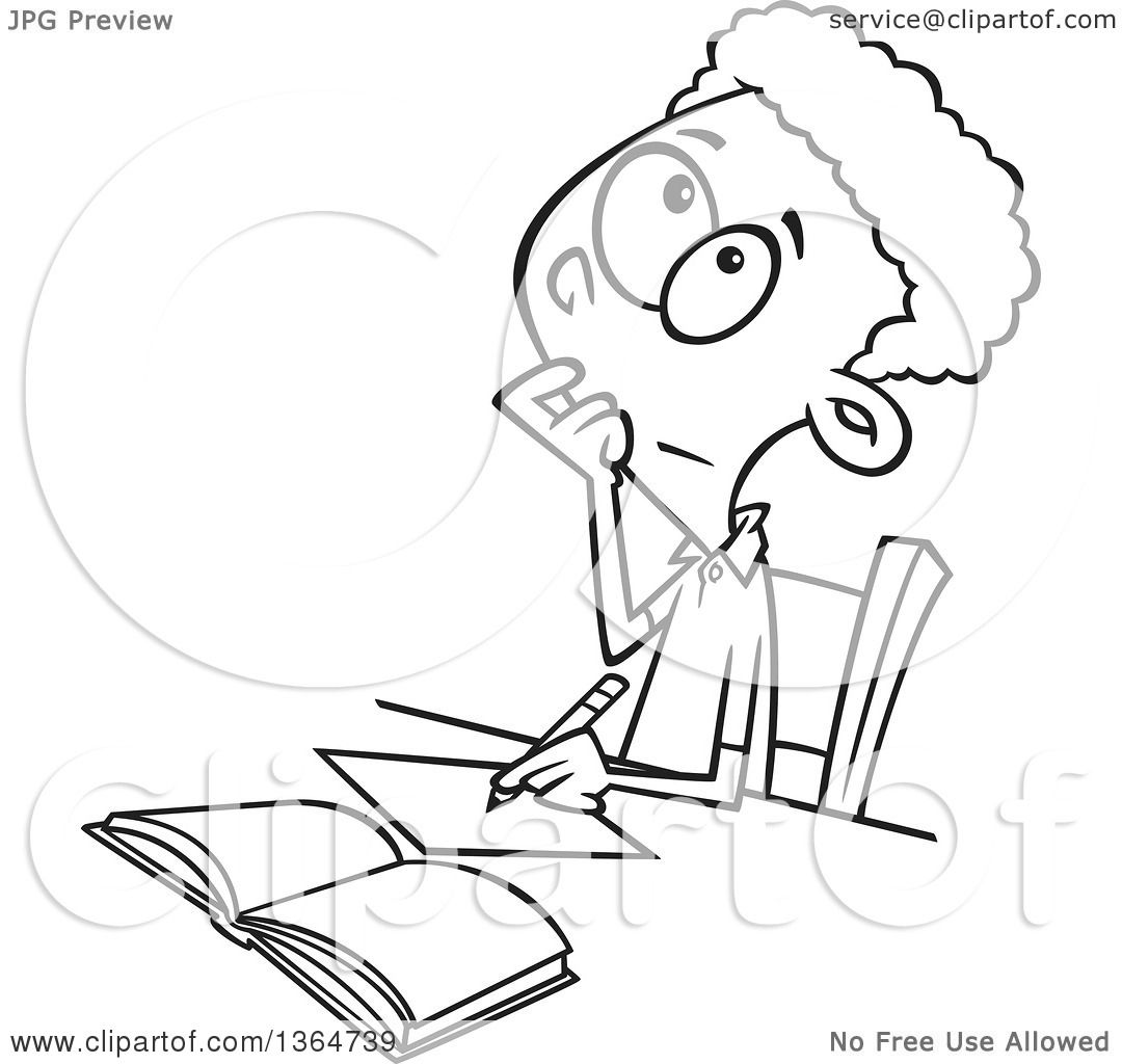Cartoon Clipart Of A Black And White School Boy Writing