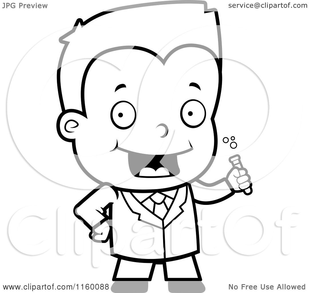 Cartoon Clipart Of A Black And White Science Boy Holding a