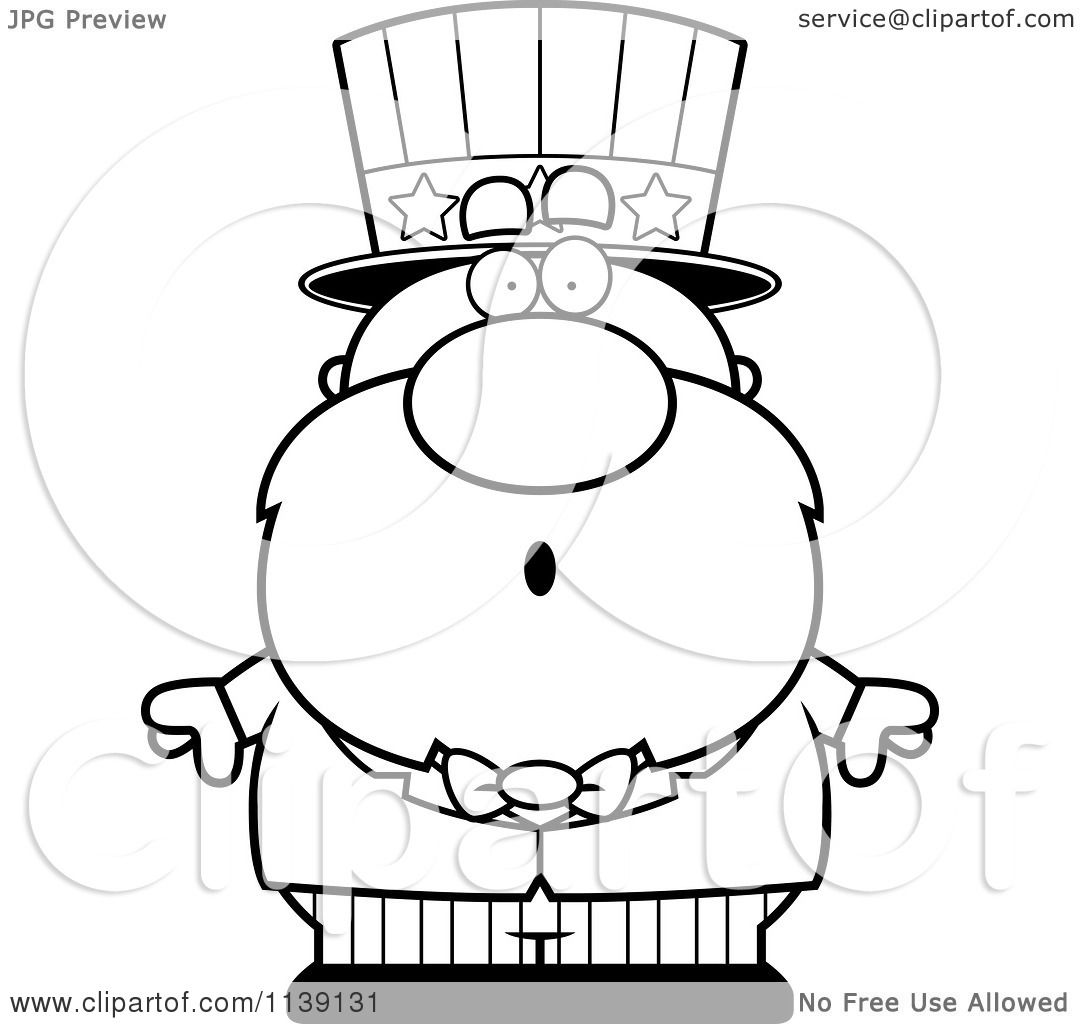 Cartoon Clipart Of A Black And White Shocked Uncle Sam
