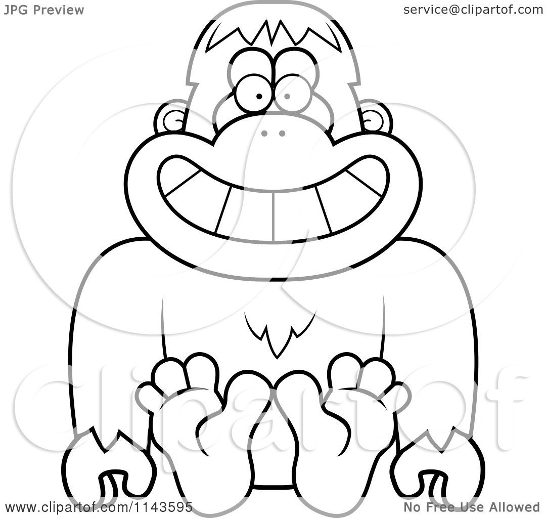Cartoon Clipart Of A Black And White Sitting Bigfoot