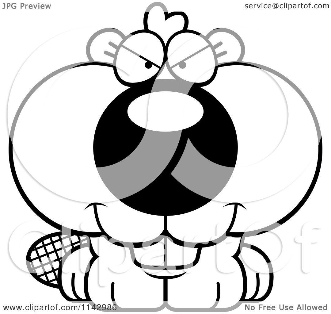 Cartoon Clipart Of A Black And White Sly Beaver