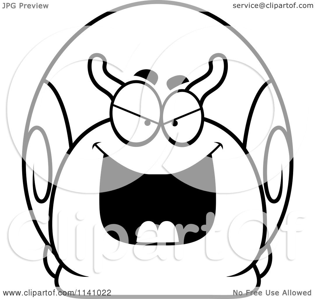 Cartoon Clipart Of A Black And White Sly Bully Snail
