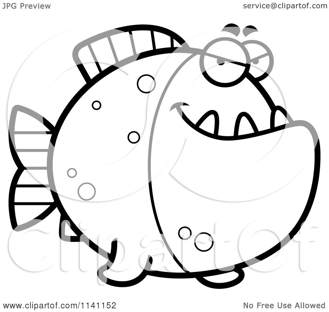 Cartoon Clipart Of A Black And White Sly Piranha Fish