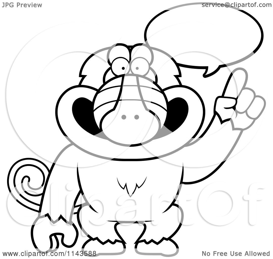 Cartoon Clipart Of A Black And White Smart Baboon Talking